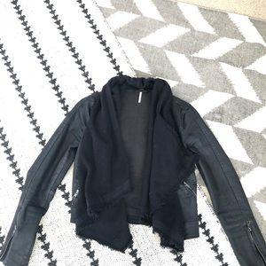 Free People coated denim drapefront jacket